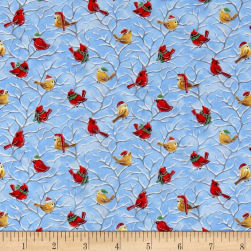 Seasons Greetings Holiday Birds On Limbs Metallic Blue/Multi