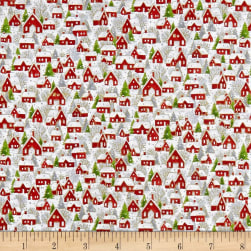 Seasons Greetings Holiday Village Metallic White/Red Fabric