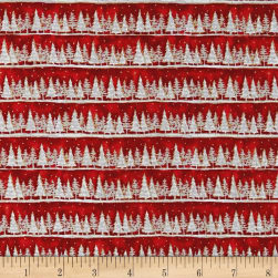 Seasons Greetings Holiday Tree Stripe Metallic Red Fabric