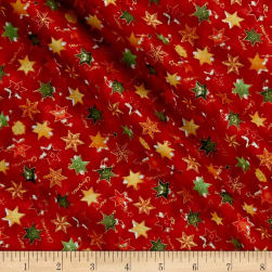 Seasons Greetings Whimsical Stars Metallic Red/Multi Fabric