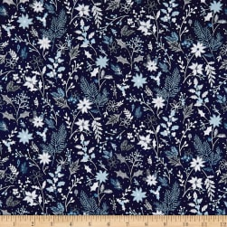 Blue Holidays Assorted Foliage Silver Metallic Royal/Multi Fabric