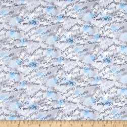 Blue Holidays Merry Christmas Silver Metallic Grey/Multi Fabric