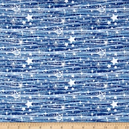 Blue Holidays Assorted Stars Silver Metallic Blue/White Fabric