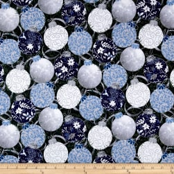 Blue Holidays Large Ornaments Silver Metallic Slate/Multi Fabric