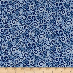 Blue Holidays Abstract Swirls Silver Metallic Navy/Multi Fabric
