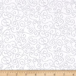 Blue Holidays Beaded Swirls Silver Metallic White/Grey Fabric