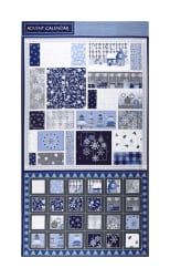 Blue Holidays Advent Calendar 24''Panel  Silver Metallic Blue/Grey Fabric