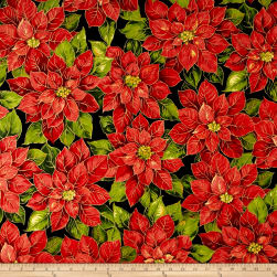 Holiday Editions Large Poinsettias Metallic Black/Multi Fabric