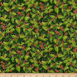 Holiday Editions Tossed Holly Metallic Forest/Multi Fabric