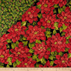 Double Face Quilted Holiday Editions Poinsettias Etched Diamond