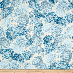 Kaufman Imperial Collection Blue Flowers Metallic Blue Fabric