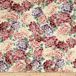Kaufman Imperial Collection Flowers Metallic Camelia Fabric