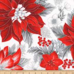 Kaufman Holiday Flourish 11 Pointsettias Flowers Metallic Silver