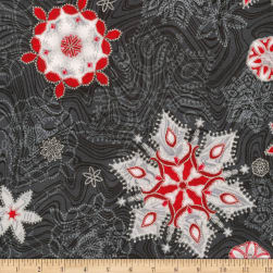Kaufman Holiday Flourish 11 Snowflakes Metallic Ebony Fabric