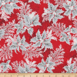 Kaufman Holiday Flourish 11 Pine Boughs Metallic Scarlet