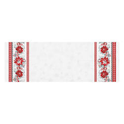 Kaufman Holiday Flourish Poinsettia Double Border Metallic Silver