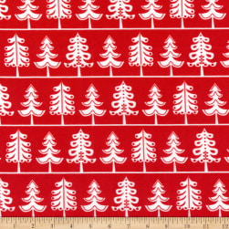 Kaufman It's Chilly Outside White Trees Red Fabric
