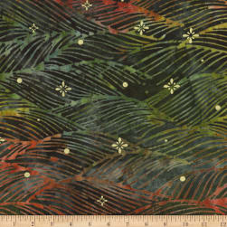 Kaufman Northwoods Batik Waves Metallic Forest Fabric