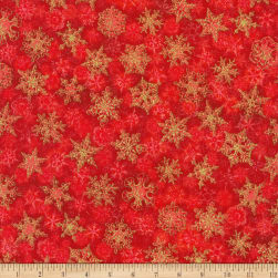 Kaufman Winter's Grandeur Snowflakes Metallic Red/Multi Fabric