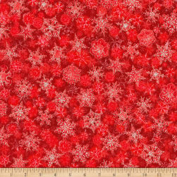Kaufman Winter's Grandeur Snowflakes Metallic Scarlet/Multi Fabric