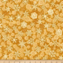 Kaufman Winter's Grandeur Snowflakes Metallic Gold Fabric