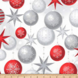 Kaufman Winter's Grandeur Ornaments Metallic Winter Fabric