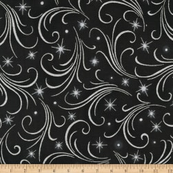 Kaufman Winter's Grandeur Swirls Metallic Ebony Fabric