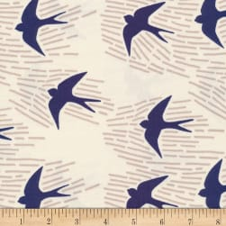 Cloud 9 Whitehaven Birds Canvas Organic Ivory Fabric