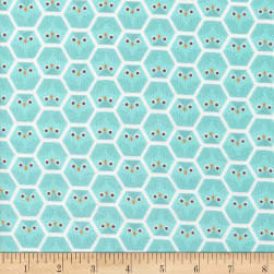 Cloud 9 Dolittles Owl Flannel Organic Turquoise Fabric