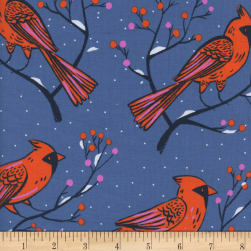 Cotton + Steel Frost Winter Cardinals Blue Fabric