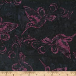 Hoffman Bali Batik Hummingbird Plum Pudding Fabric