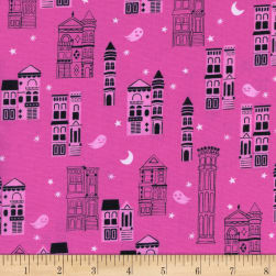 Cotton + Steel Eclipse Haunted City Pink Fabric