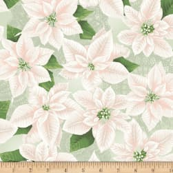 Let It Sparkle Pearly Poinsettia Silver Sage Fabric