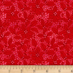 Let It Sparkle Holiday Lace Radiant Metallic Ruby Fabric