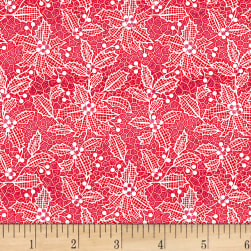 Let It Sparkle Holiday Lace Radiant Metallic Cherry  Fabric
