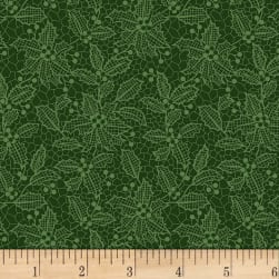 Let It Sparkle Holiday Lace Evergreen  Fabric