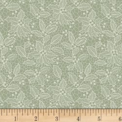 Let It Sparkle Holiday Lace Silver Sage Fabric