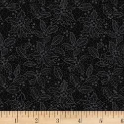 Let It Sparkle Holiday Lace Black Fabric