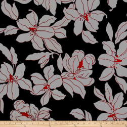 Liverpool Double Knit Mono Floral Silver/Black Fabric