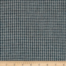 Small Houndstooth Wool Suiting Blue/White Fabric