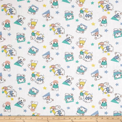 Easycare Broadcloth Koala Bear Star White Fabric