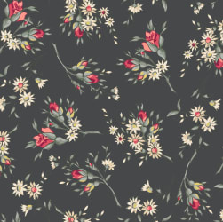 Rosette Marguerite Graphite Fabric