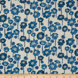 Kokka Trefle Cucito Flower Double Gauze Blue Fabric