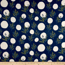 Kokka Spring Flower Mimosa Double Gauze Navy Fabric
