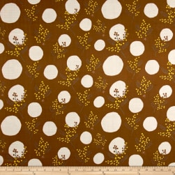 Kokka Spring Flower Mimosa Double Gauze Brown/Cream Fabric
