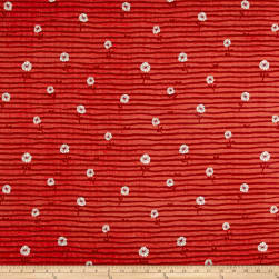 Kokka Spring Flower Daisy Double Gauze Red Fabric