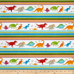 Dino Party Dinosaur Stripe White Fabric