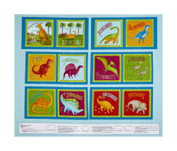 Dino Party Dinosaur 36'' Panel Blue Fabric