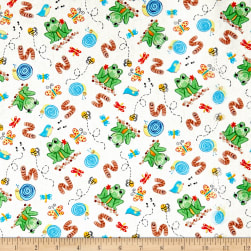 Toby Turtle Tossed Frogs And Bugs White Fabric