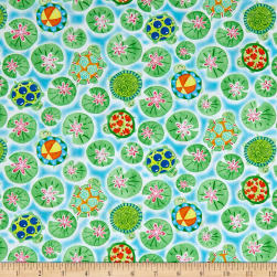 Toby Turtle Turtles And Lilypads Light Blue Fabric